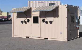 a flesh colored mobile office with some customizations like HVAC system, a door with a window glass and some windows.